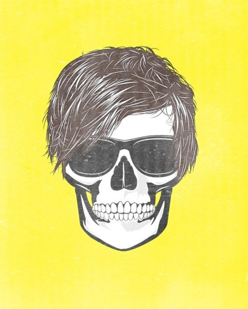 andy, andy warhol, art, drawing, eyes, glasses, hair, illustration, skull, unkown artist, warhol