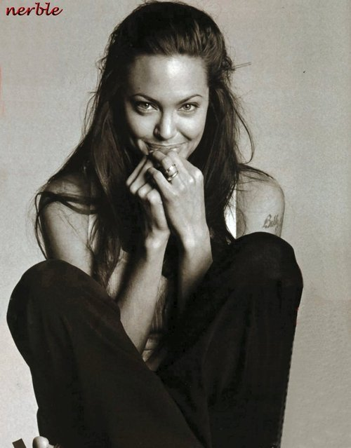 angelina, angelina jolie, b&w, black and white, black&white