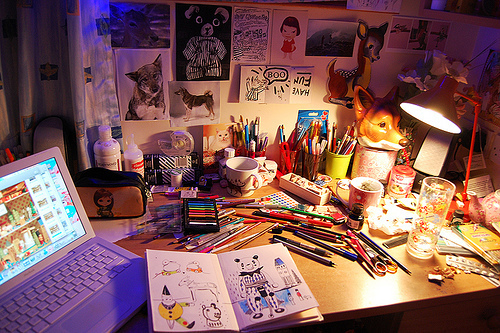 anybody home, colorful, colorfull, crayons, desk