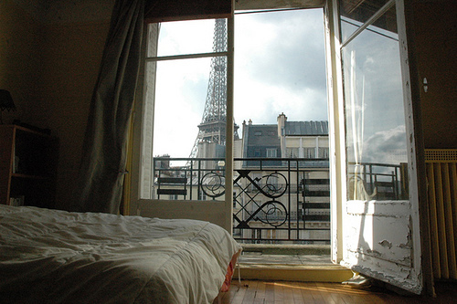apartment, bed, bedroom doors, eifeltower, paris