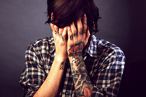 arms, boy, cute, finger tattoos, flannel