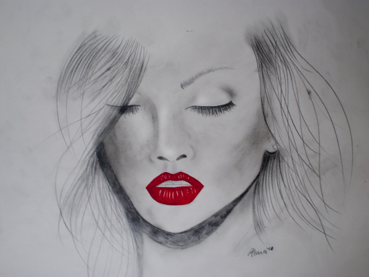 art, beautiful, hair, illustration, lips