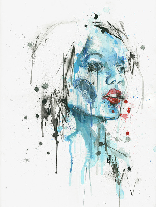 art, ben tour, blue, drawing, eyes, face, girl, hair, illustration, lips, painting, woman