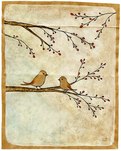 art, bird, branch, cute, drawing, illustration