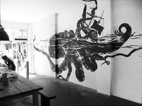 art, black and white, mural, octopus, photography