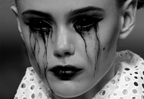 art, black eyes, black tears, sad