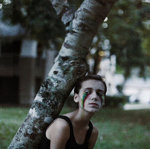 art, black, face paint, female, fine art, green, make up, outside, paint, panda eyes, photo, photography, portrait, rainbow, sad, tree