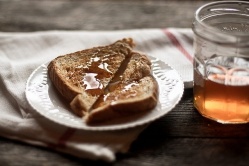 art, bread, breakfast, clean, honey, light, morning, photo, photography, plate, table, warm, white, wood, wooden