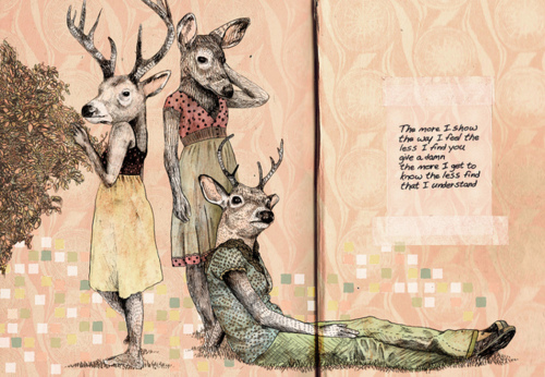 art, deer, doe, dresses, girl, illustration, mixed media