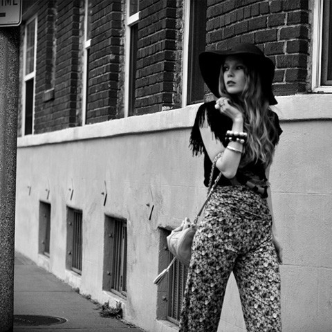 bag, black and white, fashion, fashionsquad, flowers, girl, hair, hat, photography, street, style