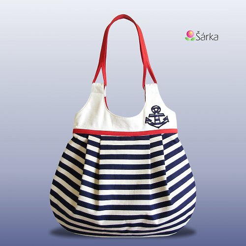 bag, blue, navy, navy bag, riped, white