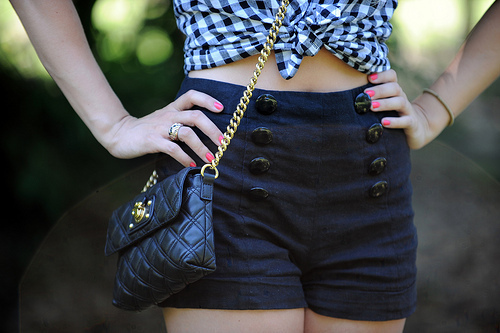 bag, chanel, cute, fashion, girl, gold, nails, photo, photography, pink, plaid, purse, shorts, style