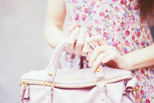 bag, dress, fashion and floral