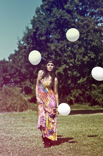balloons, beautiful, blue sky, brunette, fashion