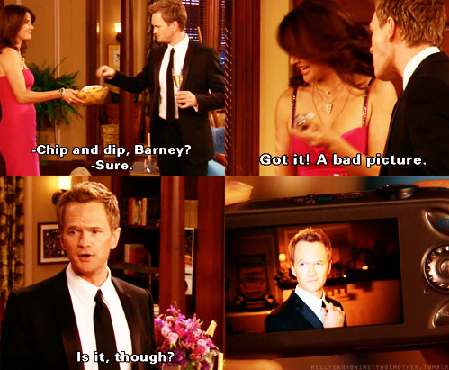 barney, barney stinson, camera, dress, flowers, funny, haha, himym, how i met your mother, neil patrick harrison, pink, robin, robin scherbatsky