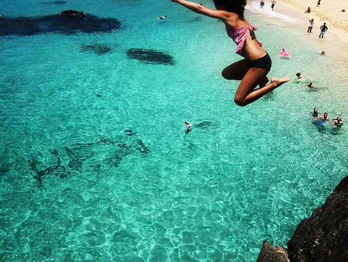 beach, girl, jump, sea, water