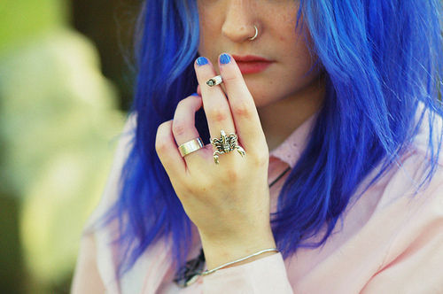 beautiful, blue hair, butterfly, girl, hair