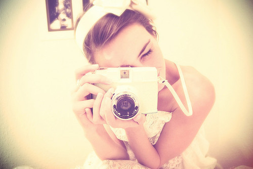 beautiful, camera, cute, fashion, girl, love, photo, photography, pink, pretty, vintage, white