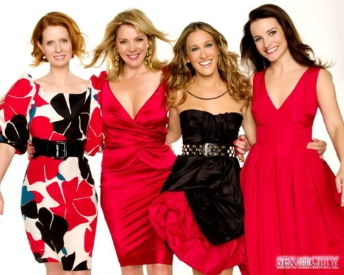 beautiful, carrie, carrie bradshaw, charlotte york, dress, fashion, girls, love, miranda hobbes, pretty, red, samantha jones, satc, sex and the city, white, woman