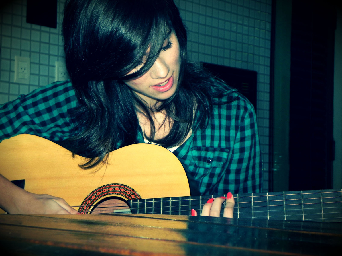 beautiful, cute, girl, guitar, hair