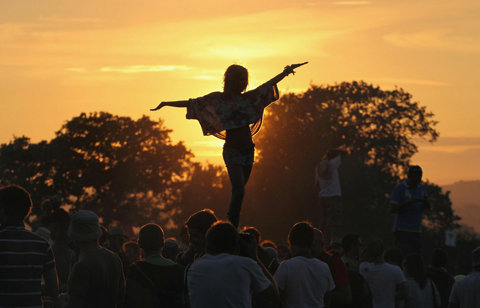 beautiful, dancing, light, sunset