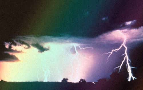 beautiful, lightning, rainbow
