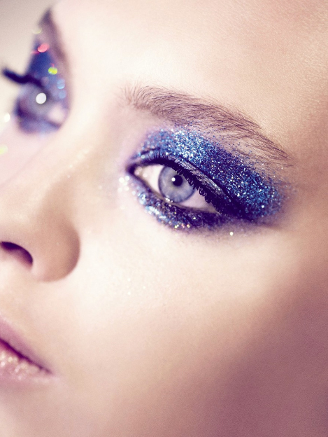 beauty, blue, blue glitter make up, eyes, eyeshadow
