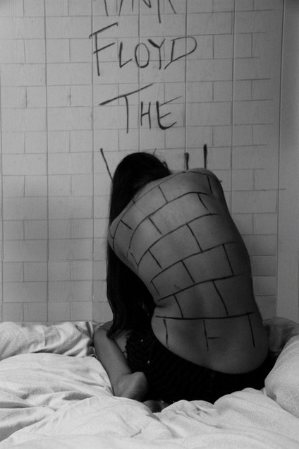 bed, black and white, bricks, girl, music