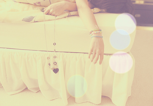 bed, cute, girl, heart, photo