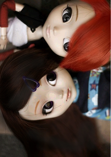 bff, blackhair, blythe, cute, doll, endless, friends, lovely, redhair, smile