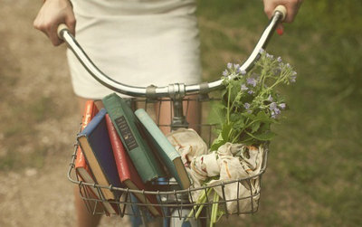 bicycle, bike, books, flowers