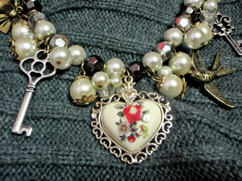 bird, colours, girls stuff, heart, key, necklace, pearls, pretty, sweet