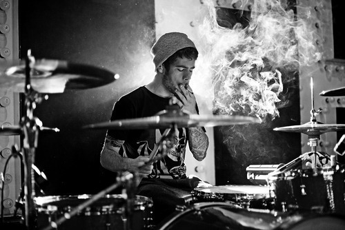 black and white, boy, cute, drummer, drums, hat, photography, tattoos