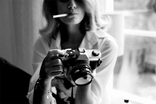 black and white, camera, canon, cigarette, girl