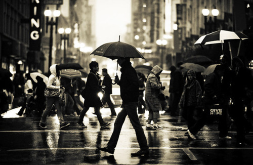 black and white, city, man, people, rain