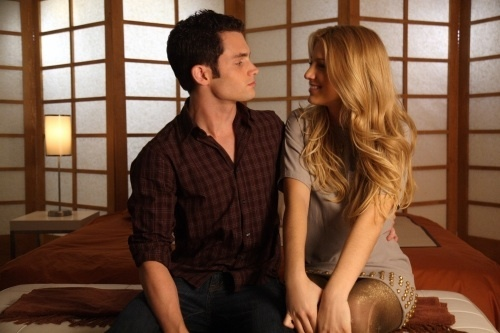 black, blake lively, blonde, boy, couple, girl, gossipgirl, penn badgley, smile