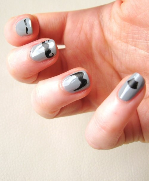 black, grey, mustaches, nail art, nail polish