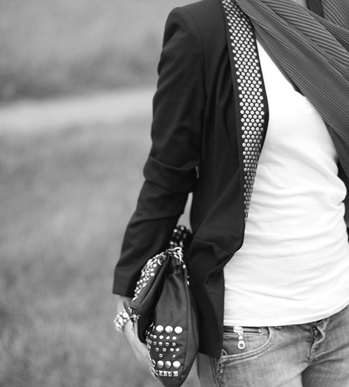 blazer, fashion, studs