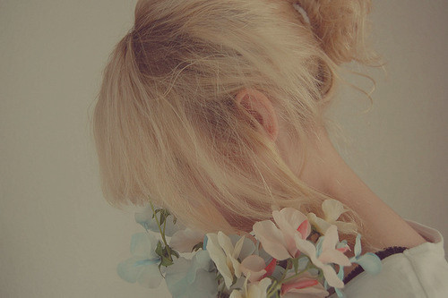 blog, blonde, bun, fashion, flowers