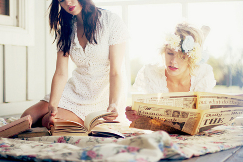 blonde, books, brunette, dream, floral, flower, girl, girls, lovely, newspaper, pretty, white, white dress