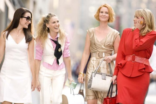 blonde, carrie, city, dress, fashion, girls, happy, love, new york, satc, white, woman