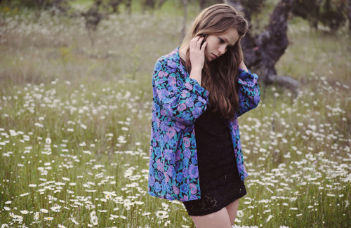 blonde, cute, fashion, field, floral, flowers, girl, hair, photography, pretty