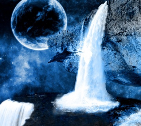 blue, dolphin, leap, nature, planet, psychedelic, sky, water, waterfall