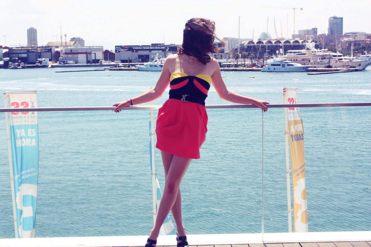boat, brunette, dress, fashion, girl