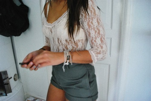 bodysuit, bra, bracelets, girl, hair, lace, legs, mac, pretty, shorts, tan
