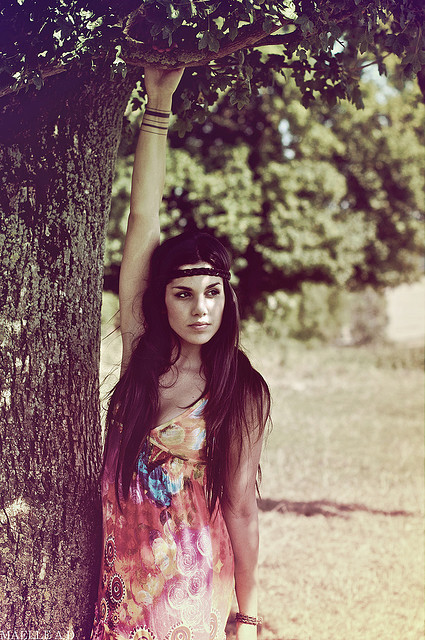 bokeh, brown hair, brunette, dress, girl, grass, headband, hippie, hippie era, hippie girl, hippy, hippy girl, long hair, model, nature, peace, photography, style, summer, sun, tree, tree branch, trees, vintage