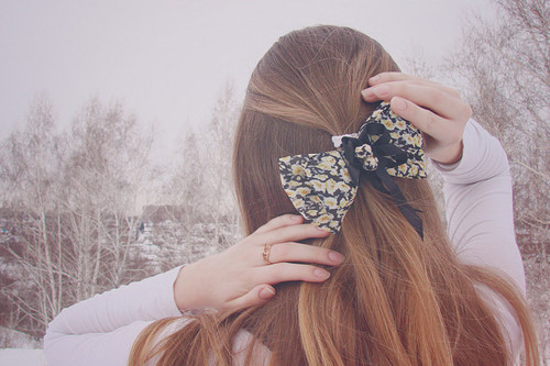 bow, floral, girl, hair