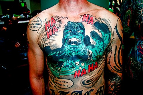 boy, chest piece, comic tattoo, cute, funny