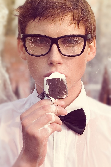 boy, eyeglasses, ice cream