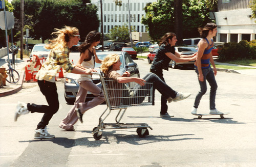 boy, friends, girl, running, shopping cart, skateboard, street